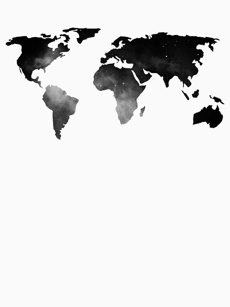 Mapa del mundo estrellas del espacio blanco y negro de naturemagick