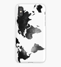 World Map Space Stars Black and White iPhone Case