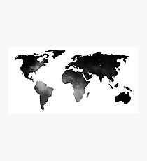 World Map Space Stars Black and White Photographic Print