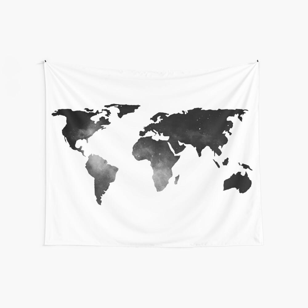 Mapa del mundo estrellas del espacio blanco y negro Tela decorativa