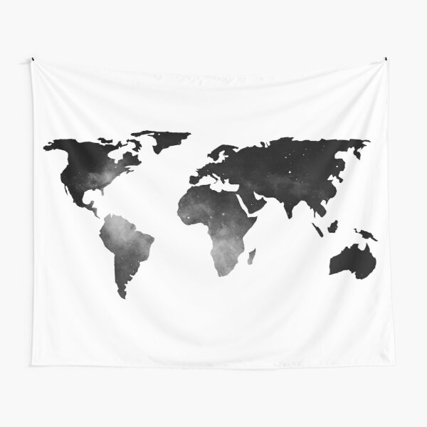 World Map Space Stars Black and White Tapestry