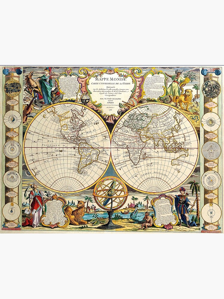 Vintage Maps Of The World 1755 by Goshadron