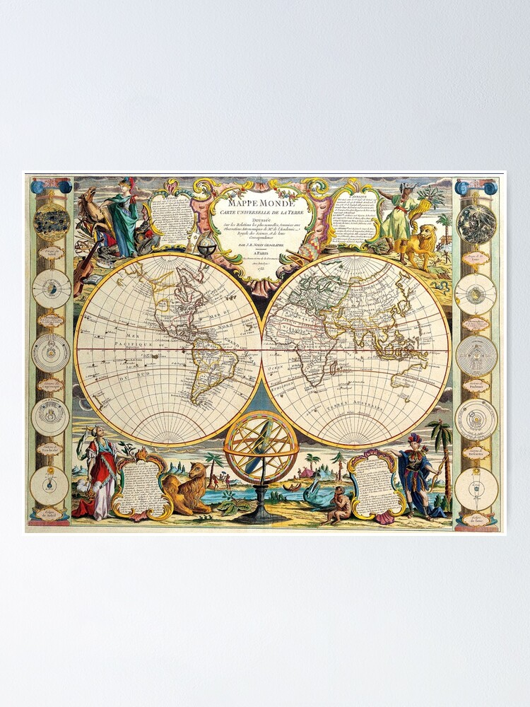 Alternate view of Vintage Maps Of The World 1755 Poster