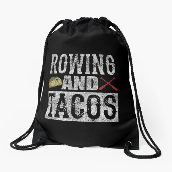 Rowing and Tacos Funny Taco Distressed Drawstring Bag