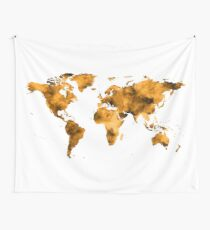 World Map Burnt Orange Brown Vintage Wall Tapestry