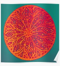 Colorful mandala painting with orange petals on green background Poster