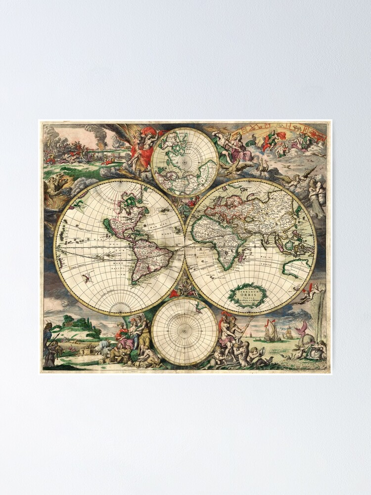 Alternate view of Vintage Maps Of The World 1689 Poster