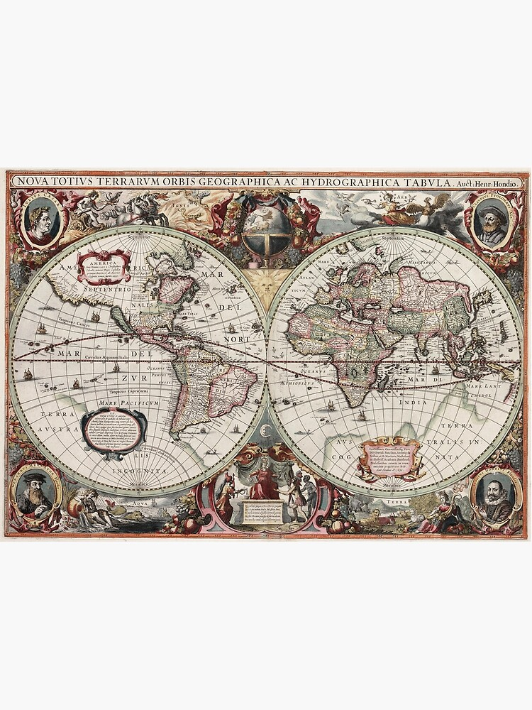 Vintage Maps Of The World. Geographic and Hydrographic Map of the Whole World by Goshadron