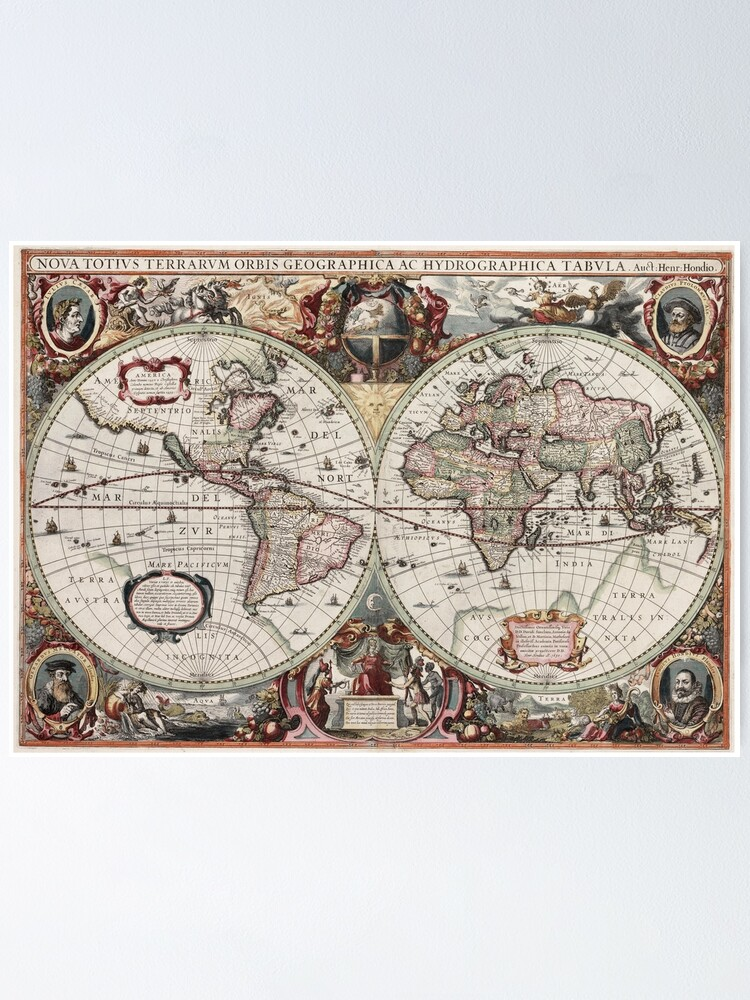 Alternate view of Vintage Maps Of The World. Geographic and Hydrographic Map of the Whole World Poster