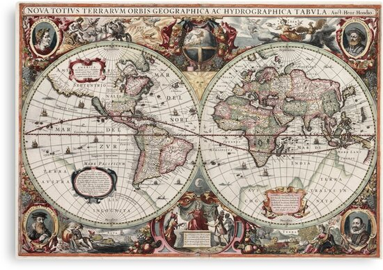 Vintage Maps Of The World. Geographic and Hydrographic Map of the ...