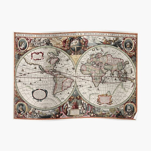 Vintage Maps Of The World. Geographic and Hydrographic Map of the Whole World Poster