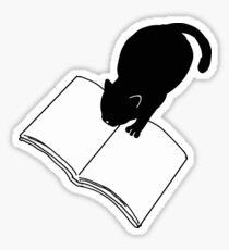 Black Cat Reading Book Funny Emoji Bookworm Sticker