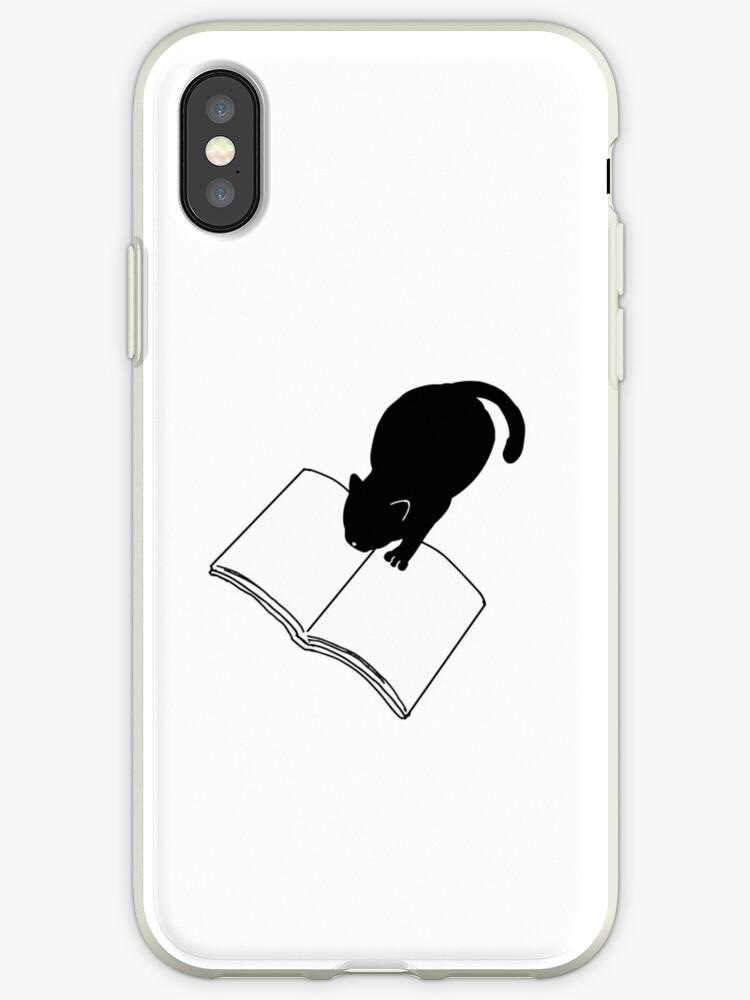 Coque Et Skin Adhesive Iphone Livre De Lecture Chat Noir Drole Bookworm Emoji Par Japaneseinkart