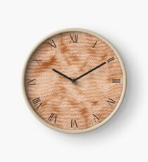 Beige fluffy knitted fabric textured abstract Clock