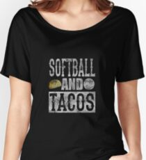 Softball and Taco Funny Taco Distressed Women's Relaxed Fit T-Shirt