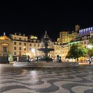 Waves and Lights - Rossio Square in Lisbon Portugal at Night by Georgia Mizuleva