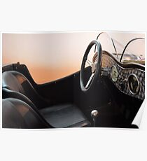 Interior of vintage car with steering wheel and board Poster