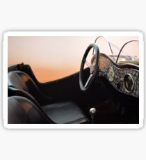 Interior of vintage car with steering wheel and board Sticker