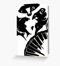 art deco mirror op art flapper black white mod Jacqueline Mcculloch Greeting Card