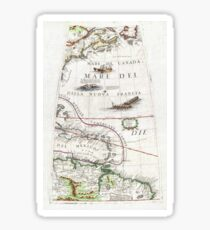 Antique Map - Coronelli's American Coast (1688) Sticker