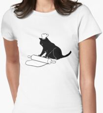 Black Cat Rolling Pin Funny Baking Emoji Womens Fitted T-Shirt