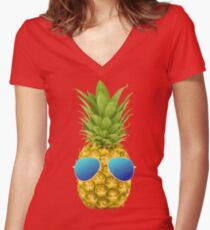 Cool Pineapple  Women's Fitted V-Neck T-Shirt
