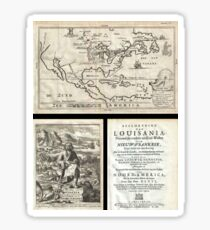 Antique Map - Hennepin's Louisiana (1688) Sticker
