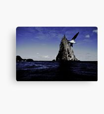 The bird, the sea and the pyramid Canvas Print