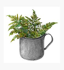 Mug with fern leaves Photographic Print