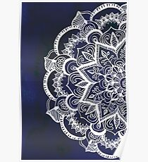 White Feather Mandala on Navy Poster