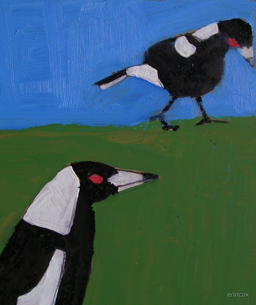 Two magpies by erincox