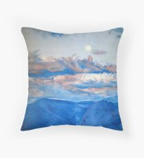 "Oil painting ""Full moon in mountain"" Throw Pillow"