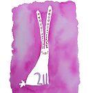 Bunny Love - Original Pink Bunny Rabbit Watercolour by qitiji