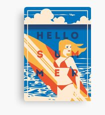 Hello Summer Surf poster Canvas Print