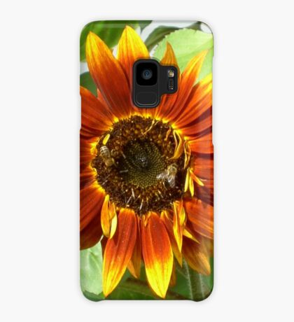 Bees on Red Sunflower Case/Skin for Samsung Galaxy