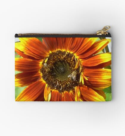 Bees on Red Sunflower Studio Pouch