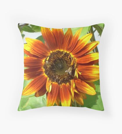 Bees on Red Sunflower Throw Pillow