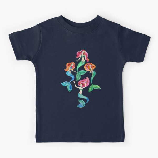 Merry Mermaids in Watercolor  Kids T-Shirt