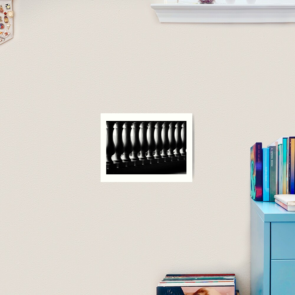 Photograph Black and White Dramatic Architectural Curved Light Dark Balusters in Bahamas Caribbean Travel Art Print Home Decor Art Print