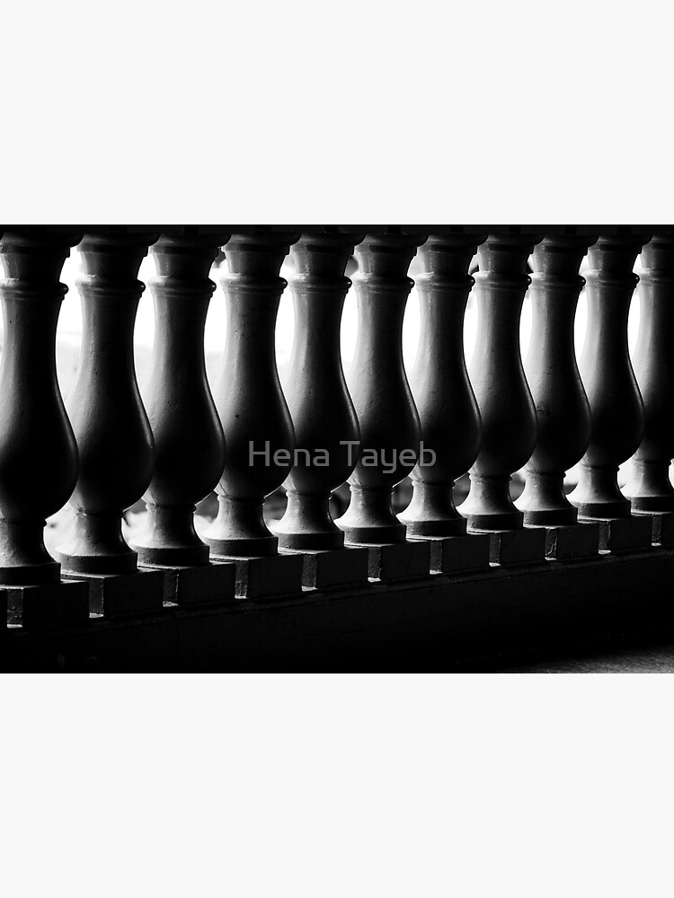 Photograph Black and White Dramatic Architectural Curved Light Dark Balusters in Bahamas Caribbean Travel Art Print Home Decor by henzy