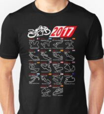 Calendar 2017 MotoGp named circuits Unisex T-Shirt