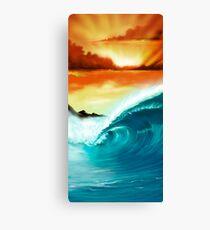Blue Wave Sunset Canvas Print
