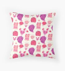 Pink Girly Fruit Ghost Pattern Throw Pillow