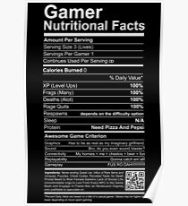 Gamer Nutritional Facts Poster