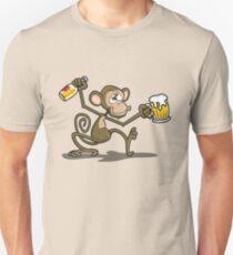 Monkey Drunk Cartoon Theme Unisex T-Shirt