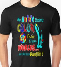 Autistic Students Color Their Worlds Autism Tshirt T-Shirt  Unisex T-Shirt