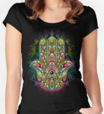 Hamsa Fatma Hand Psychedelic Amulet  Women's Fitted Scoop T-Shirt