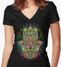 Hamsa Hand Psychedelic Amulet  Women's Fitted V-Neck T-Shirt
