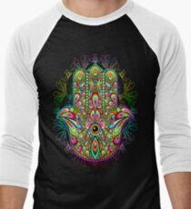 Hamsa Fatma Hand Psychedelic Amulet  Men's Baseball ¾ T-Shirt