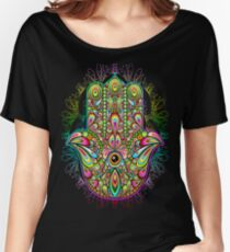 Hamsa Hand Psychedelic Amulet  Women's Relaxed Fit T-Shirt